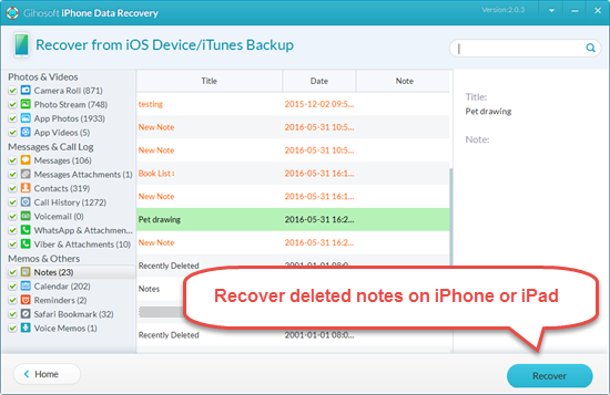 Here's how to recover deleted/notes from iPhone without backup