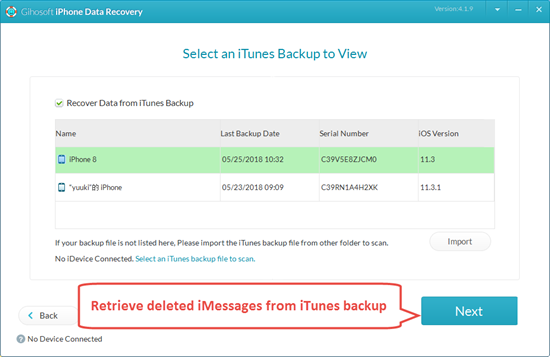 Retrieve Deleted iMessages from iTunes Backup
