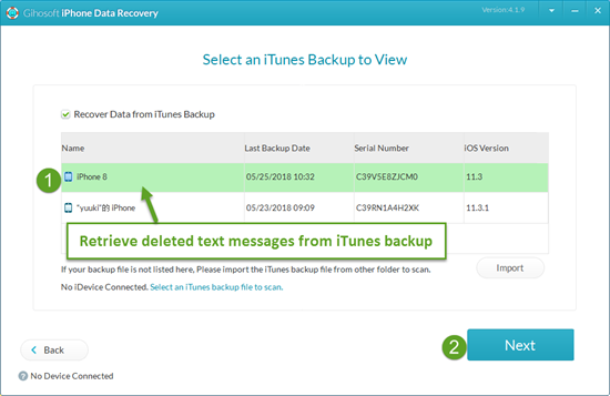 Recover Deleted Texts on iPhone from iTunes Backup