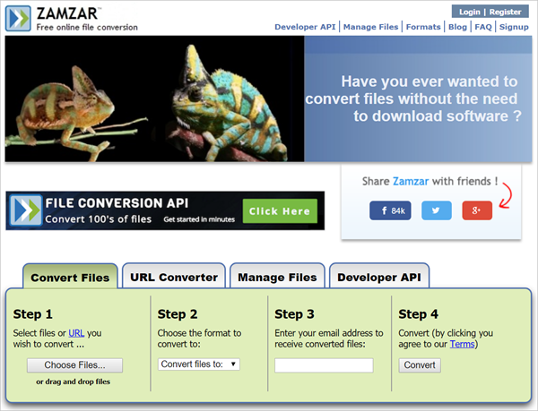 Zamzar is 2018 Top 5 Best Free Online Video Converter for PC/Mac