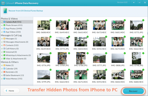 Transfer Deleted/Hidden Photos from iPhone to PC