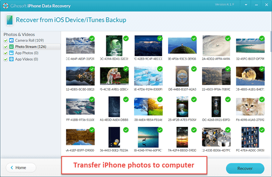 Copy Photos from iPhone to PC/Mac via Gihosoft iPhone Data Recovery.