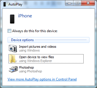 Transfer iPhone Photos via Windows AutoPlay