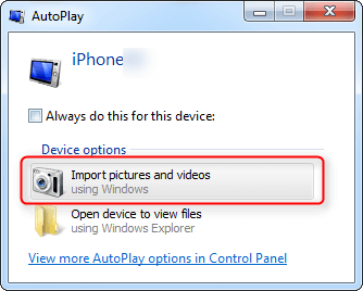 Transfer Photos from iPhone to PC with Windows Auto Play