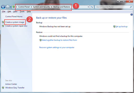 Create a system image, Built-in Windows Backup Functions