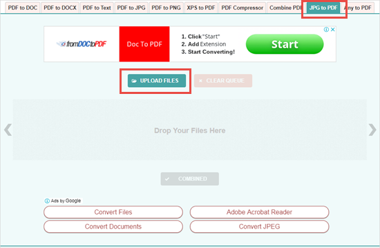 Using an online image to PDF converting tool