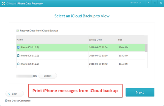 Print iPhone Messages in iCloud Backup
