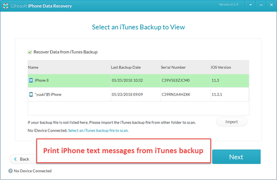 Print iPhone Messages in iTunes Backup