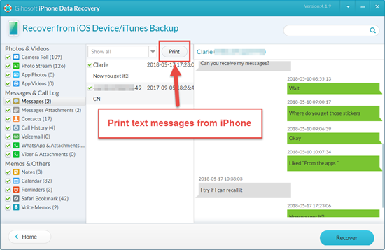 Print iPhone Text Messages with iPhone Recovery Tool