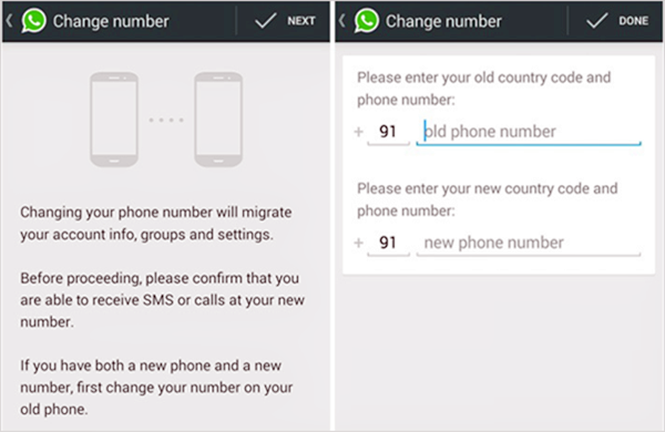 How to change WhatsApp phone number?