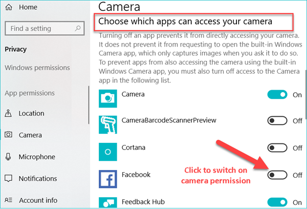 Allow Applications to Access Camera