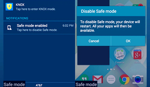 Disable Safe Mode on the Notifications Panel
