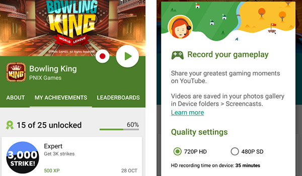 Google Play Games is one of the 10 Best Screen Recorder Apps for Android in 2018.