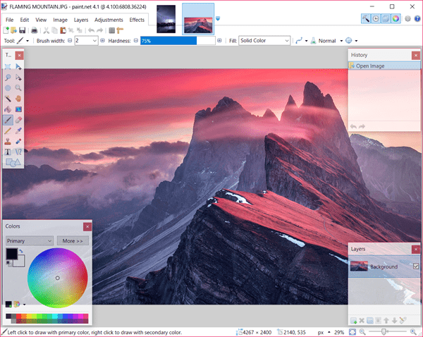 Paint.net is one of the Best Free Photo Editing Software for Beginners with Windows 10.