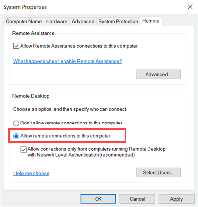 Enable and Use Remote Desktop Connection in Windows 10