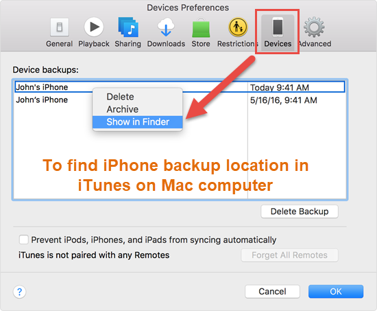 Alternatively, you can locate a specific backup in iTunes