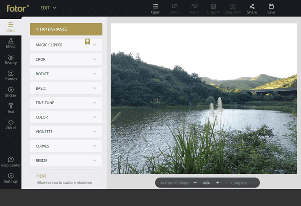 Fotor is one of the Best Free Online Photo Editor for Windows 10.