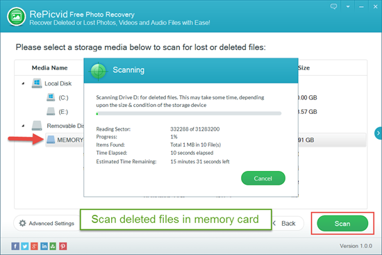 Scan & Preview Deleted Files in Memory Card.