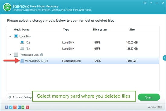Select Memory Card That Stores Deleted Files.