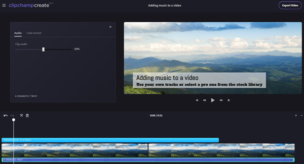 Clipchamp can Add Background Music to Video Online for Free.