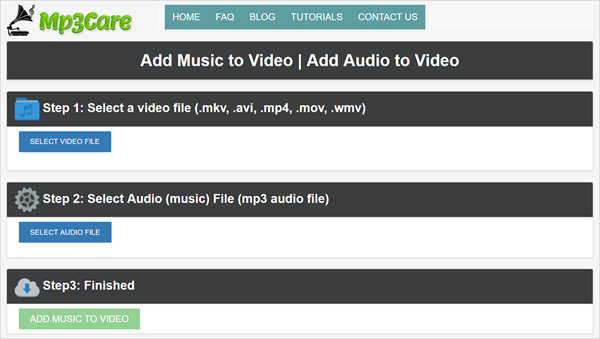 MP3Care can Add Background Music to Video Online for Free.