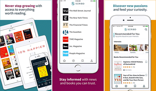 Scribd is one of the best Free Audiobook Apps for Your iPhone in 2019.