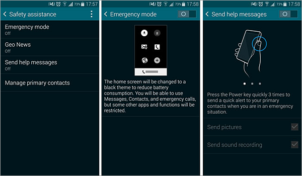 Enable emergency mode on Samsung phones
