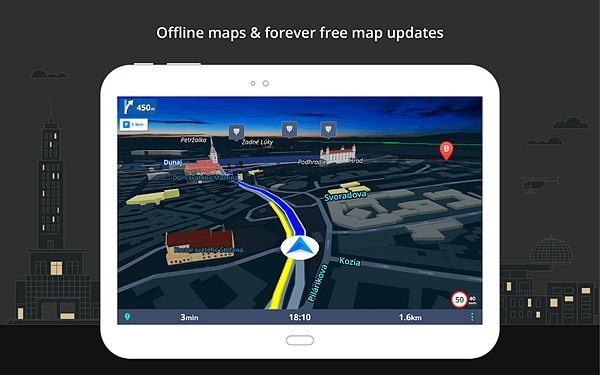 GPS Navigation & Offline Maps Sygic is one fo the best Free Offline GPS and Map Apps for Android.
