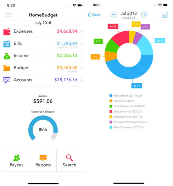 HomeBudget with Sync is one of the Top 10 Budget and Expense Tracking Apps for iPhone.