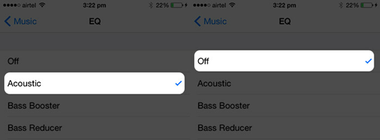 Turn off EQ from the Music App