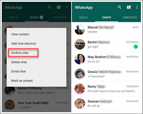Archive WhatsApp Chats to Hide Conversations
