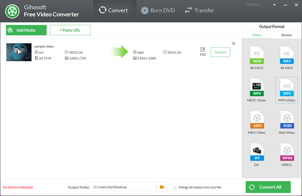 Best Alternative to Online AVI to MP4 Converter - Gihosoft Free Video Converter