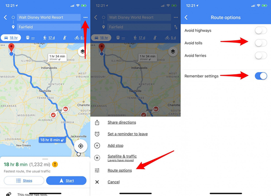 Avoid Tolls On The Road With iPhone Google Maps