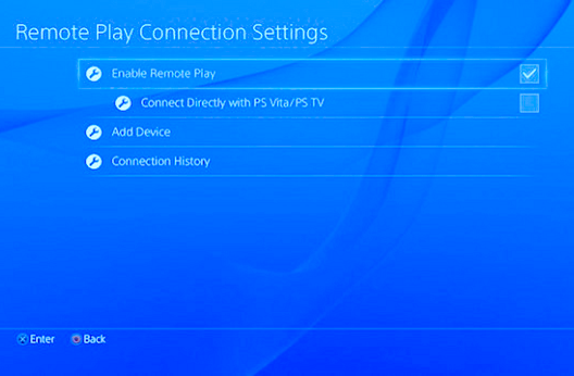 Configure Remote Play Connection Settings