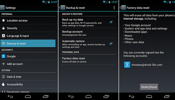 Using Factory Reset to Format Your Android Phone.