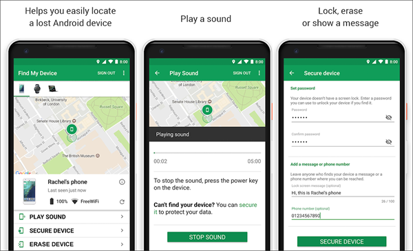 Using Google Find My Device to Find Android Phone Misplaced in Silent Mode.