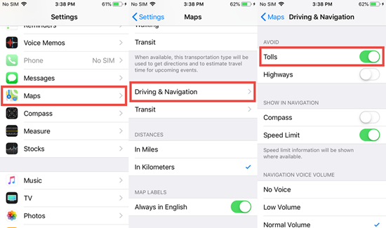 Use Apple Maps To Avoid Tolls on iPhone