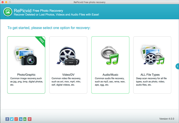 Run Mac photo recovery software and choose recovery option