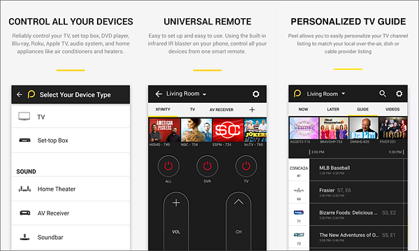 Peel Universal Remote is best free IR Universal Remote Control Apps for Android.