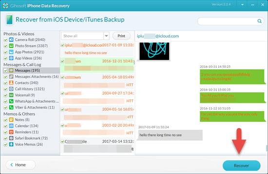 Save iPhone Messages to PC with Gihosoft iPhone Data Recovery