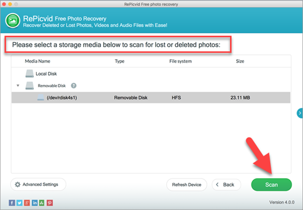 Select a partition for scanning photos from