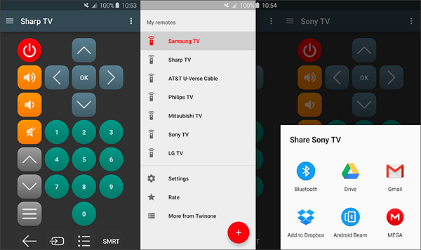 Twinone TV Remote is best free IR Universal Remote Control Apps for Android.
