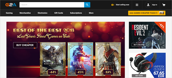 G2A is one of the best PC Game Download Websites.