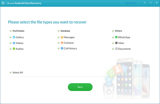 Recover deleted data from an Android phone with Gihosoft android recovery software.