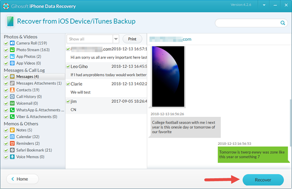 Tansfer/Save Messages from iPhone to PC via Gihosoft iPhone Recovery