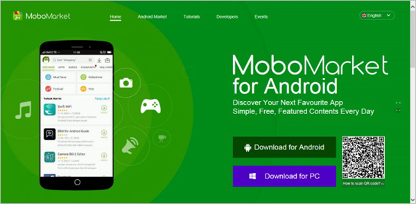 Using MoboMarket to download android games.