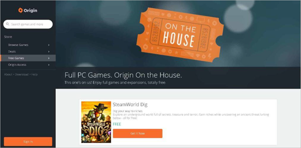 Origin is one of the best PC Game Download Websites.