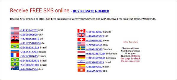 free phone number online to receive sms