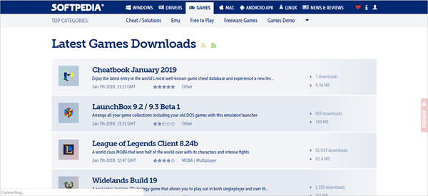 Softpedia is one of the best PC Game Download Websites.