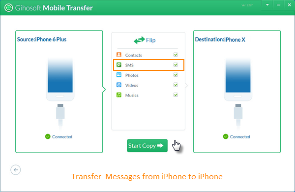 Transfer Messages from iPhone to iPhone via Gihosoft Mobile Transfer